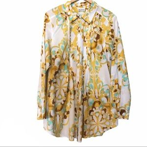 Allison Taylor Yellow Floral Pleated Button Down